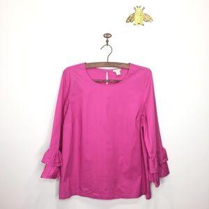 J. Crew factory pink ruffle sleeve blouse 12 0060